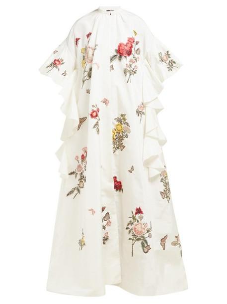 Biyan - Rosamaria Floral Embroidered Silk Blend Coat - Womens - Ivory Multi