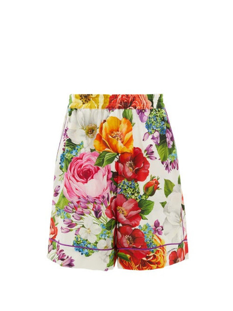 Dolce & Gabbana - Floral-print Silk-blend Shorts - Womens - Multi