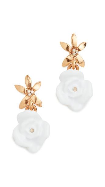 Oscar de la Renta Resin Rose with Pointed Flower Earrings
