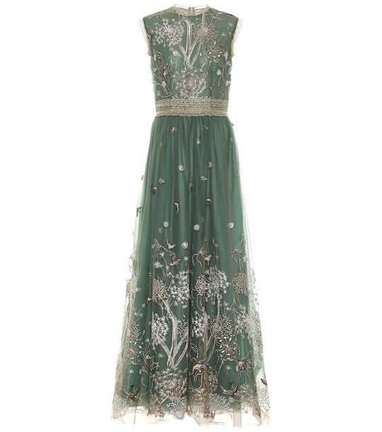Costarellos Embroidered tulle gown in green
