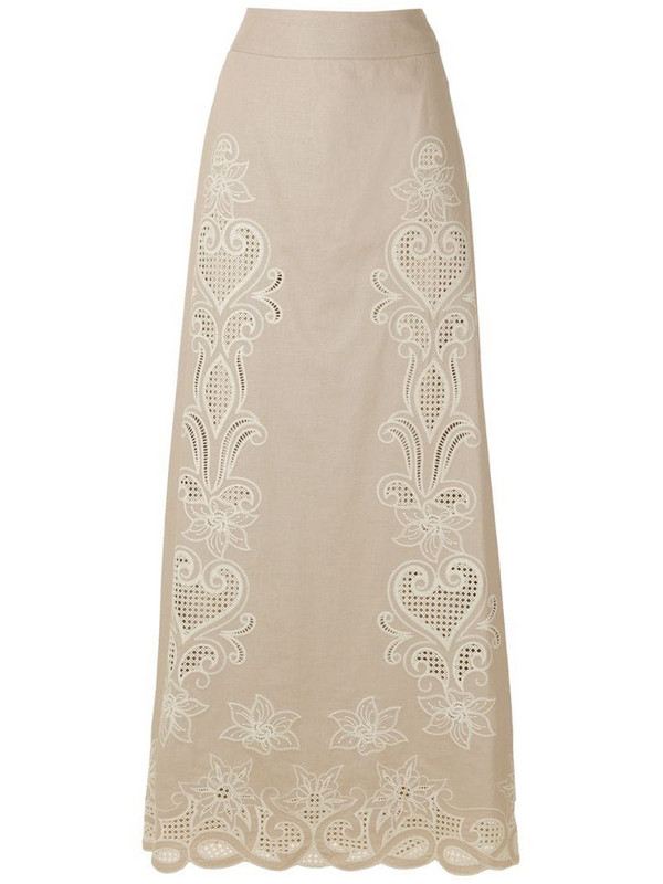 Martha Medeiros Giordanna embroidered long skirt in neutrals