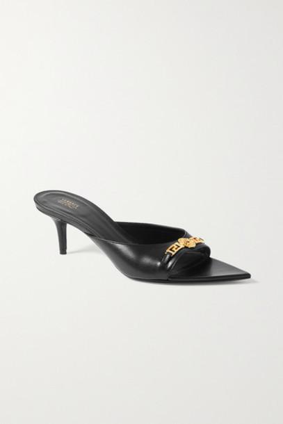 Versace - Embellished Leather Mules - Black