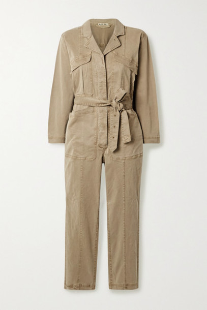 Alex Mill - Expedition Cropped Belted Stretch Tencel And Cotton-blend Twill Jumpsuit - Sand