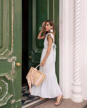 dress,striped dress,maxi dress,sleeveless dress,shoulder bag,sandals