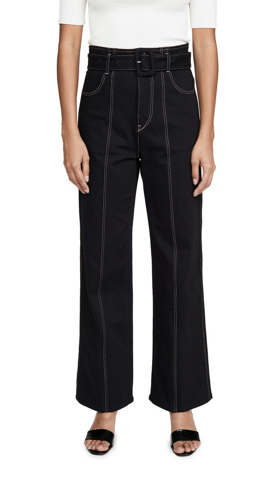 Colovos Seamed Leg Buckle Jeans in black