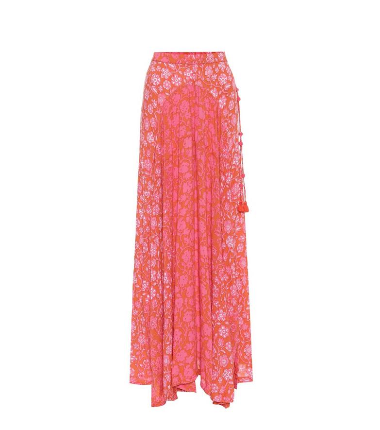 Poupette St Barth Ollie printed maxi skirt in orange