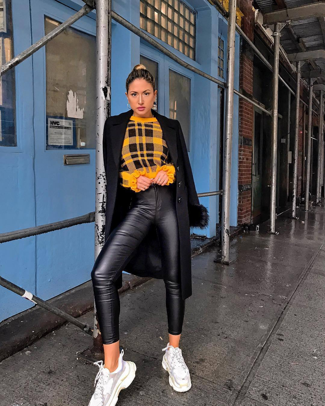 sweater cropped jumper plaid white sneakers black leather pants long coat black coat