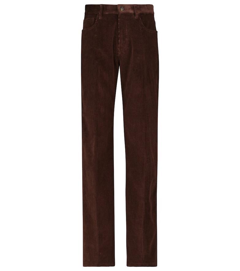 Tod's High-rise slim corduroy pants in brown