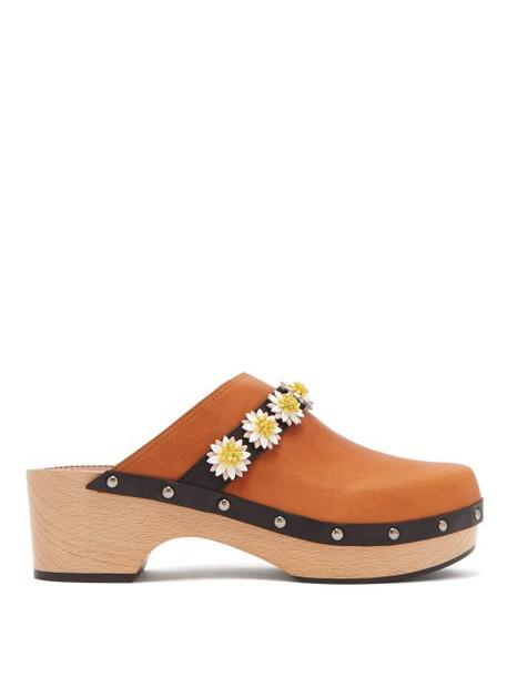 Fabrizio Viti - Jean Floral Appliqué Leather Clogs - Womens - Tan Multi