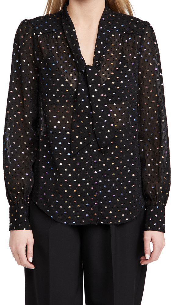 PAIGE Cleobelle Blouse in black / metallic / multi