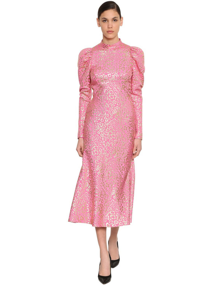 TEMPERLEY LONDON Silk Lamé Leopard Jacquard Midi Dress in gold / pink