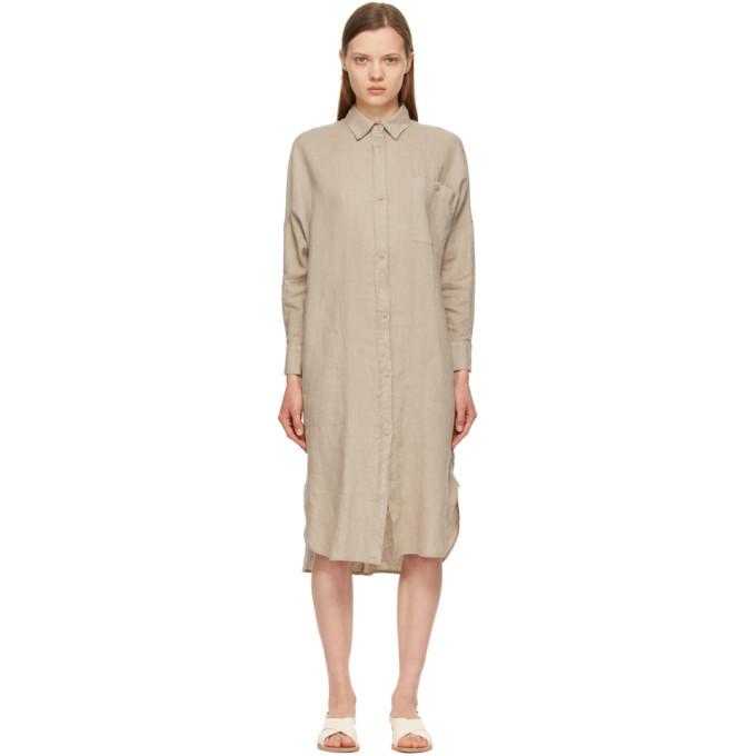 Max Mara Leisure Beige Linen Procida Shirt Dress in ecru