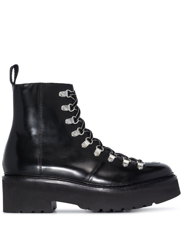 Grenson Nanette 65mm leather platform boots in black