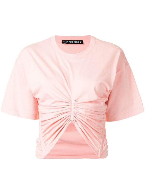 Y/Project ruched cropped T-shirt in pink