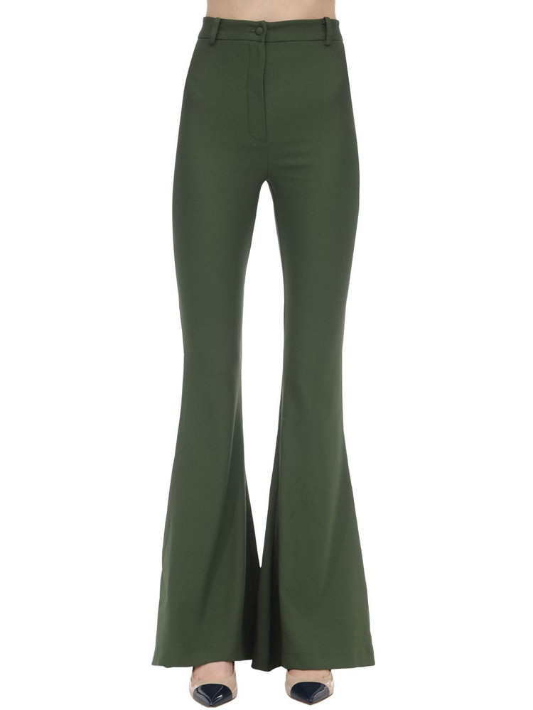 HEBE STUDIO Bianca Flared Viscose Blend Cady Pants in green