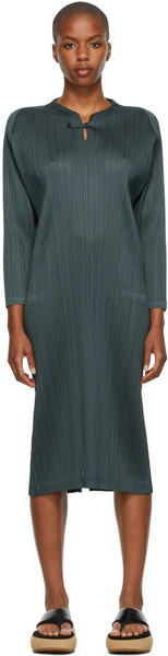 Pleats Please Issey Miyake Monthly Colors September Three-Quarter Sleeve Dress in charcoal
