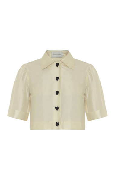 George Keburia Cropped Silk Hearts Shirt in white
