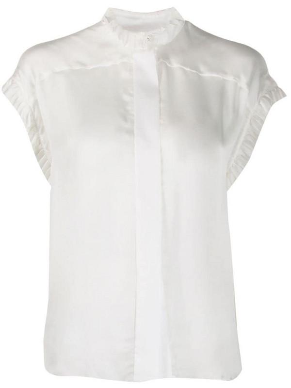Alexandre Vauthier ruffle-trim silk shirt in white