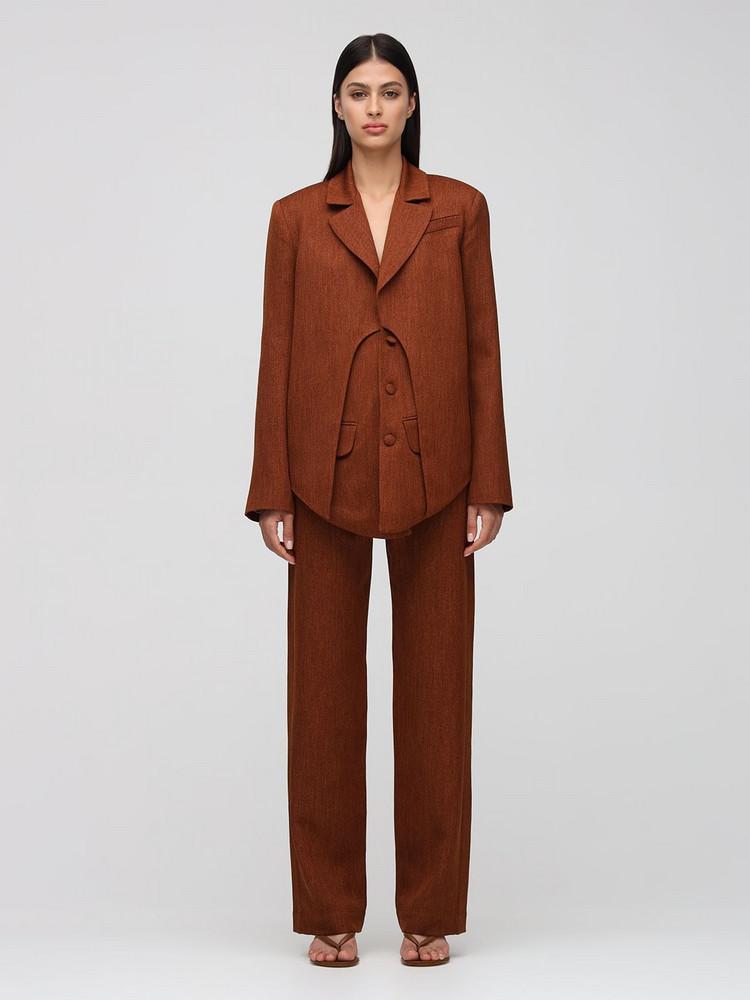 MATÉRIEL Double Layer Twill Blazer in brown