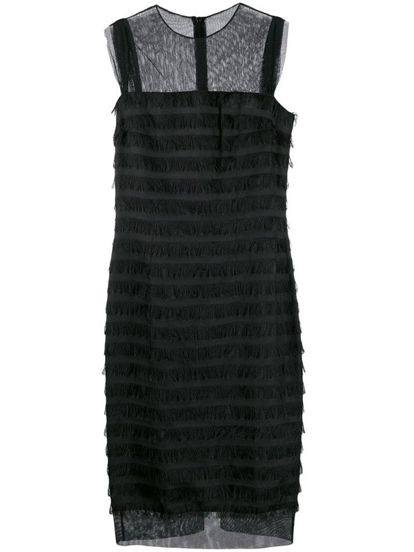 Balenciaga Pre-Owned 2000's sheer panels fringed dress in black
