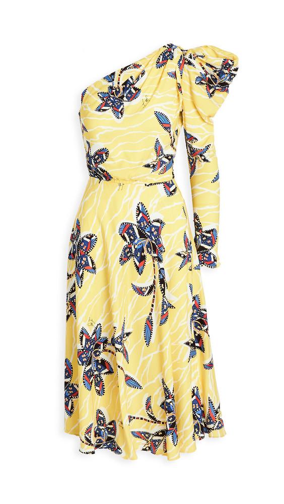 Stella Jean One Shoulder Dress in yellow