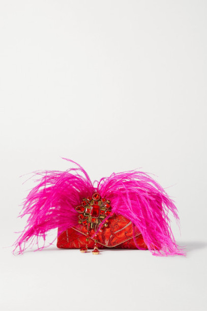 Dries Van Noten - Envelope Small Feather And Crystal-embellished Jacquard Clutch - Red