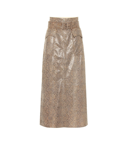Nanushka Aarohi snake-effect faux leather skirt in brown