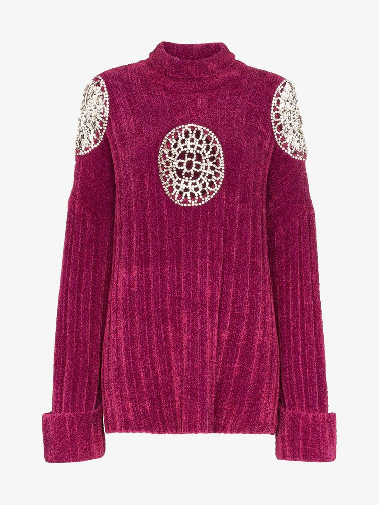 AREA Embellished cut-out turtle neck sweater in purple