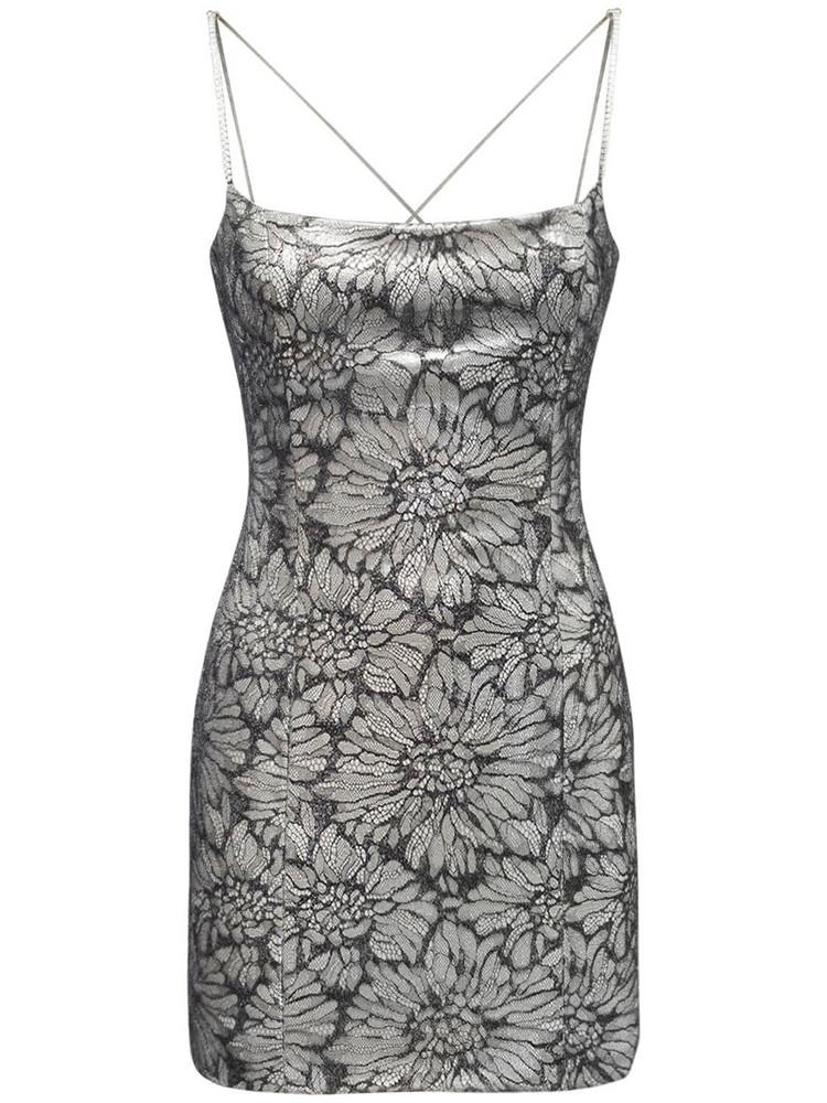 AZZARO Honey Light Lace Tech Mini Dress in silver