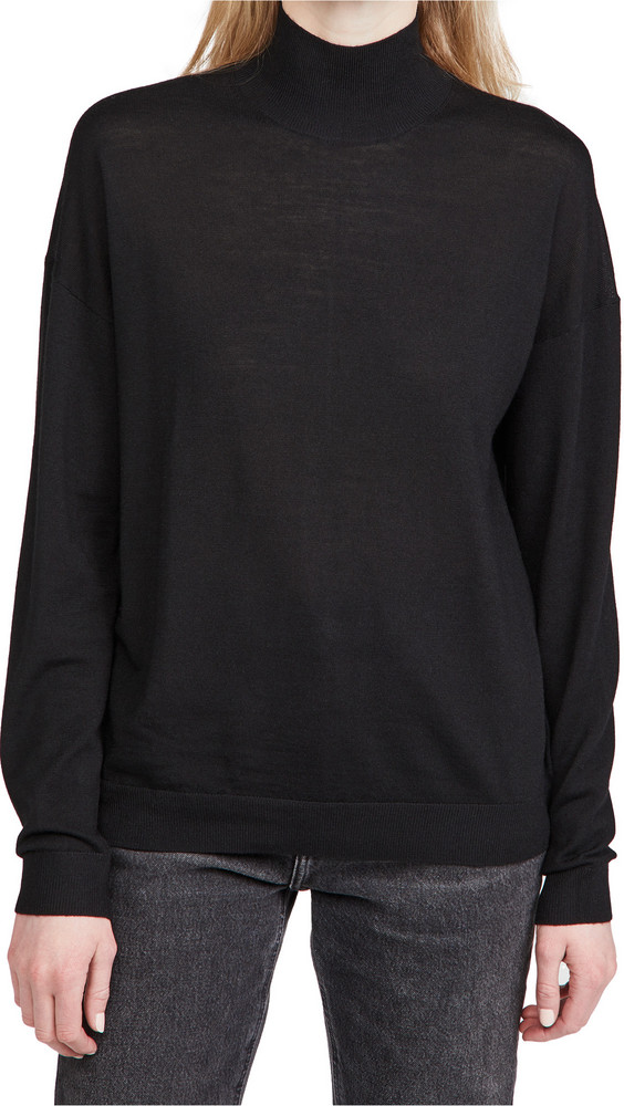 Ninety Percent Merino Oversized Turtleneck Sweater in black / white