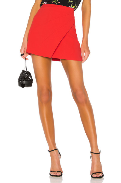 Alice + Olivia Shaylee Asymmetrical Drape Wrap Mini Skirt in red
