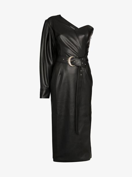 Anouki one shoulder belted midi dress in black
