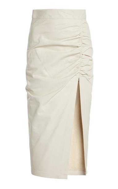 Zeynep Arçay Ruched Leather Midi Skirt in white