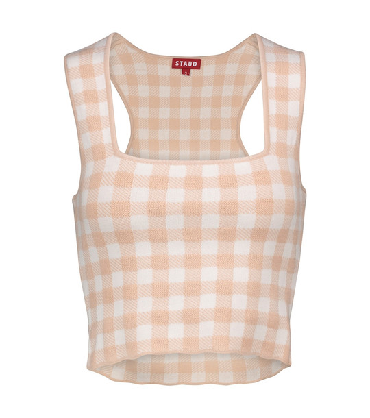 Staud Trail gingham crop top in pink