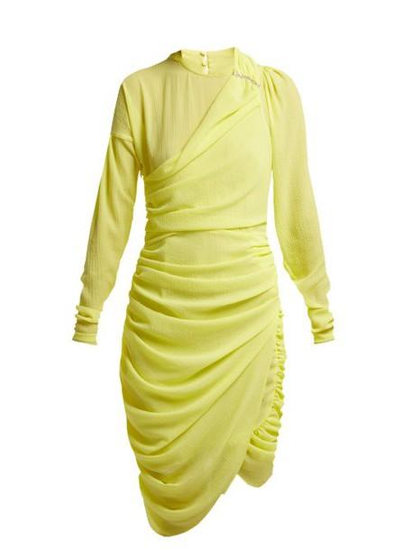 Preen By Thornton Bregazzi - Alex Crinkled Georgette Ruched Midi Dress - Womens - Yellow
