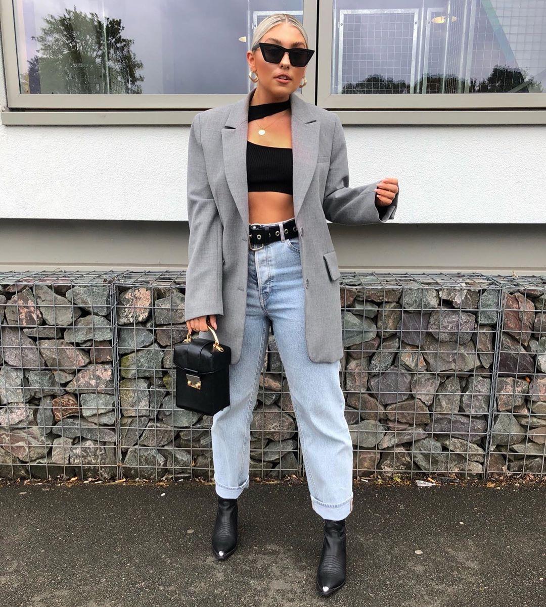 top crop tops black top black boots grey blazer high waisted jeans mom jeans black bag handbag