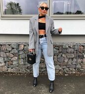 top,crop tops,black top,black boots,grey blazer,high waisted jeans,mom jeans,black bag,handbag