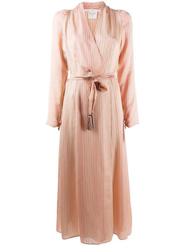 Forte Forte striped midi wrap dress in pink