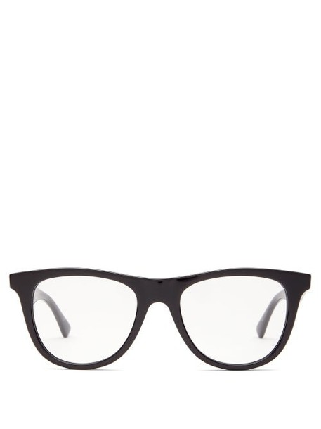 Bottega Veneta - Logo Engraved Round Acetate Sunglasses - Womens - Black