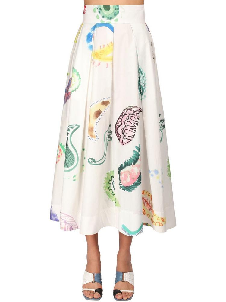 ROSIE ASSOULIN Paisley Print Poplin Skirt in white / multi