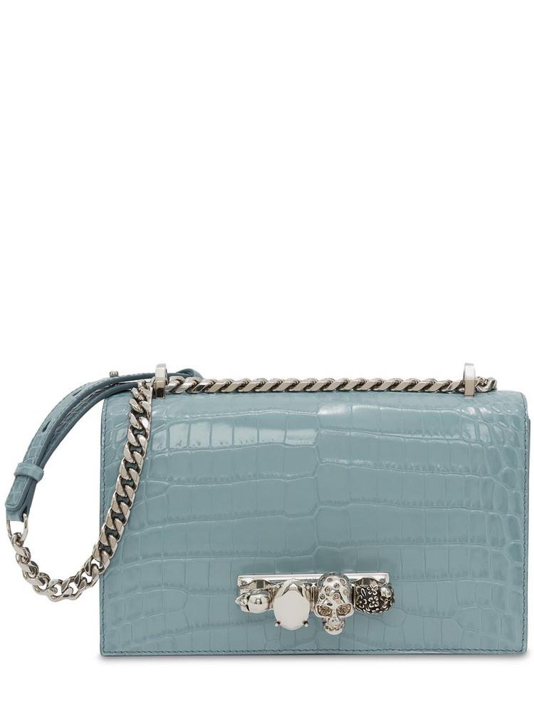 ALEXANDER MCQUEEN Croc Emb Leather Jeweled Shoulder Bag in blue / grey