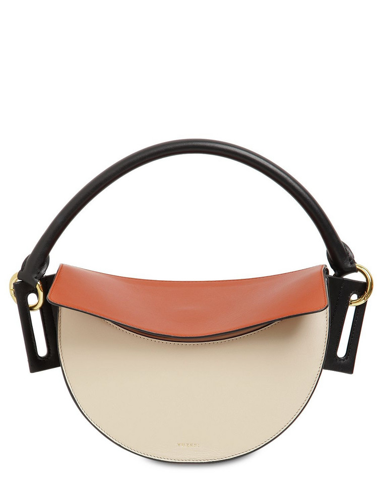 YUZEFI Dip Bcolor Leather Top Handle Bag in cream