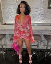 dress,colorful dress,short dress,long sleeve dress,pink dress,deep v dress,outfit,vegas dress,colorful,cute dress