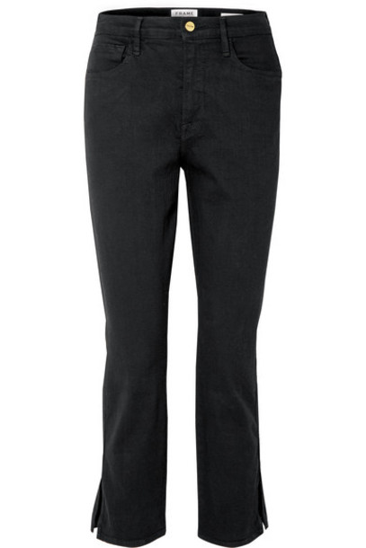 FRAME - Le Sylvie Cropped High-rise Straight-leg Jeans - Black