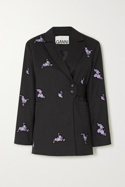 GANNI - Belted Embroidered Wool Blazer - Black