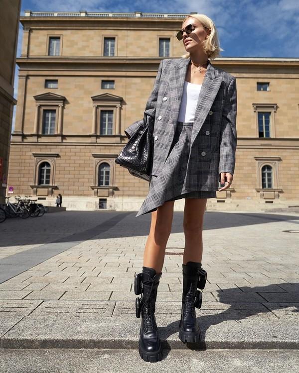 jacket plaid blazer double breasted mini skirt plaid skirt combat boots black boots isabel marant white top black bag