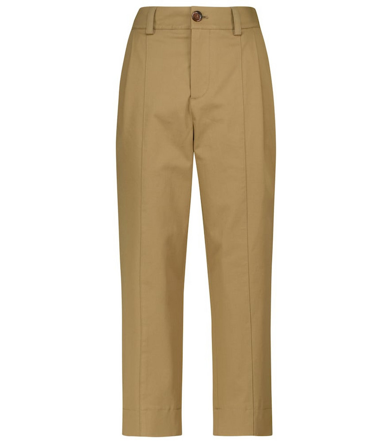 See By Chloé High-rise cotton twill pants in green