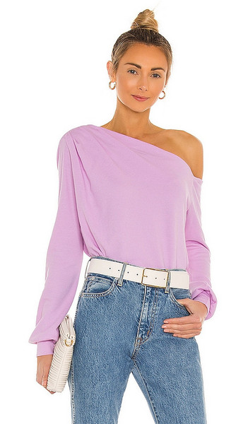 LA Made Audrey Off Shoulder Pullover in Mauve in pink