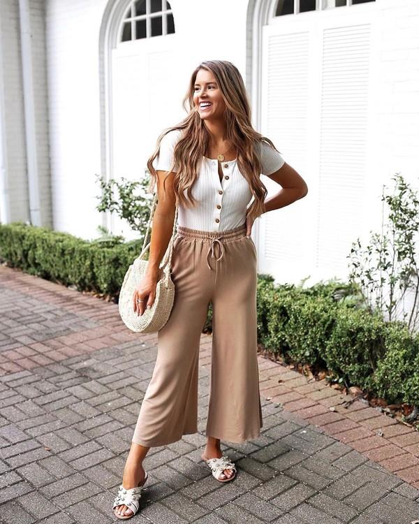 pants wide-leg pants sandals white top short sleeve white bag