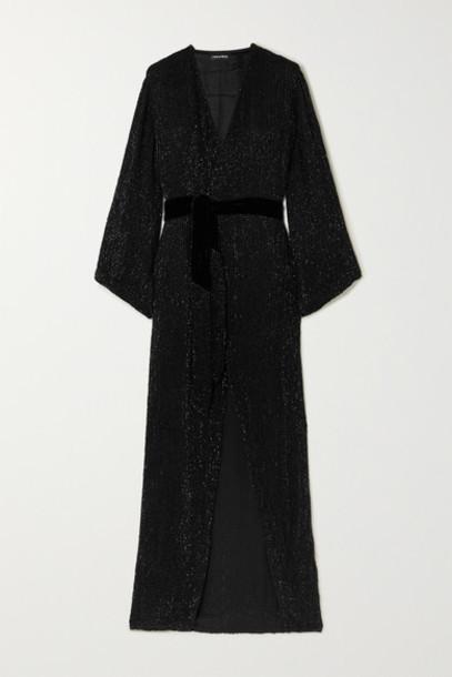 Retrofête - Janet Velvet-trimmed Sequined Chiffon Maxi Wrap Dress - Black
